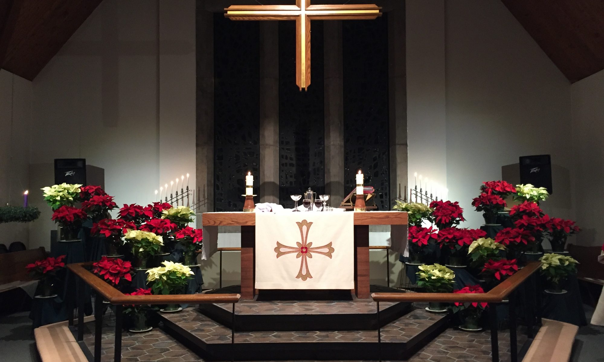 The altar with poinsettias
