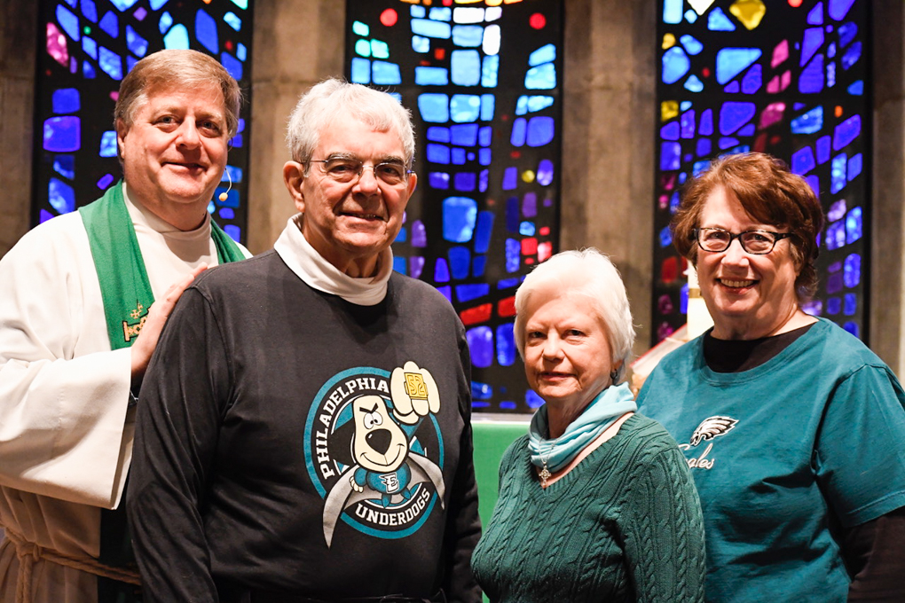 Pastor Scott Maxwell, Bill Fuson, Barbara Sheridan and Karen Hansell