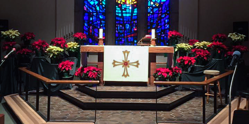 Poinsettias at the altar