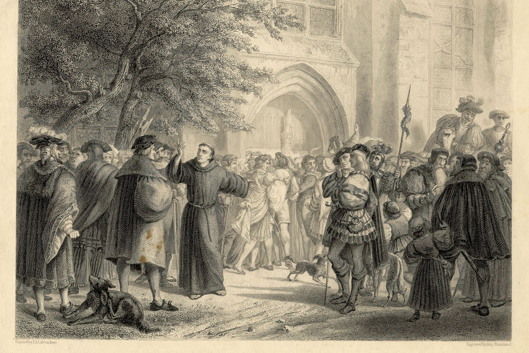 Engraving of the scene at Wittenberg after Luther nailed his 95 Theses to the door.