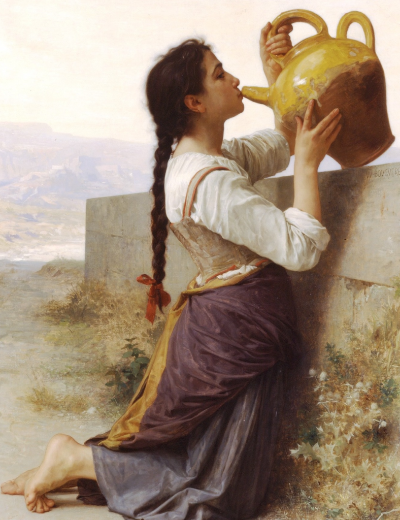 Woman drinking from a pitcher