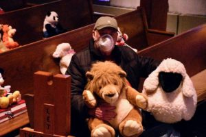 Pastor David Mueller with Leroy and Lion and Larry the Sheep