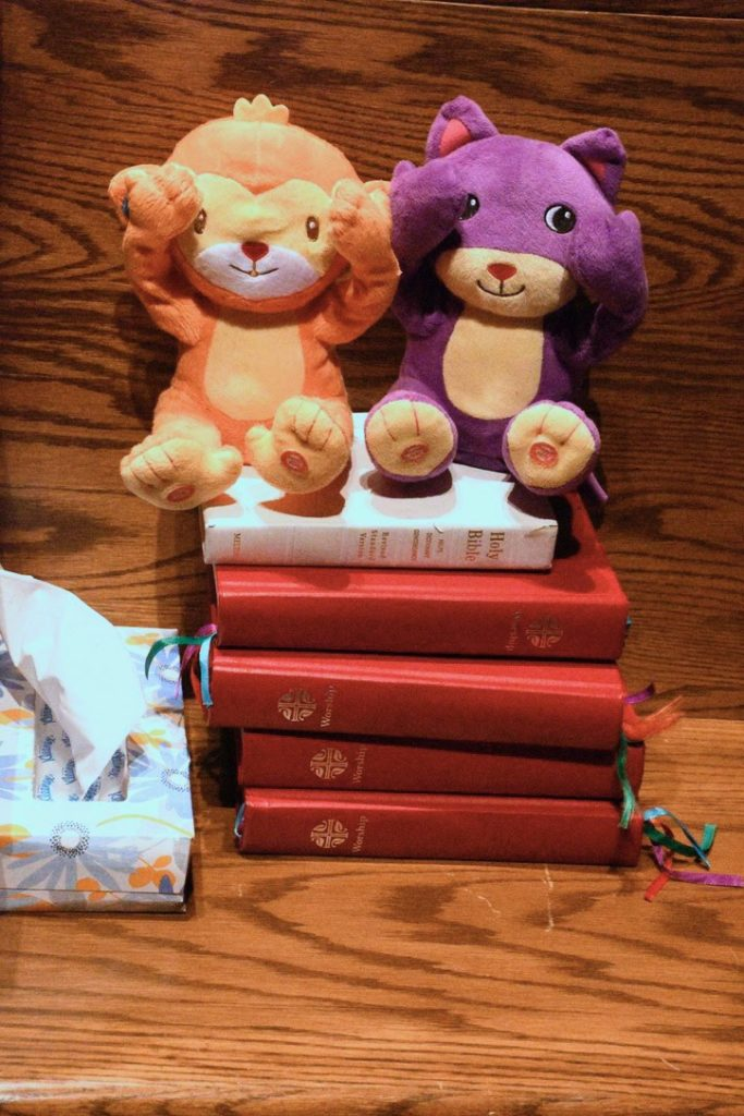 A couple of critters sitting atop hymn books