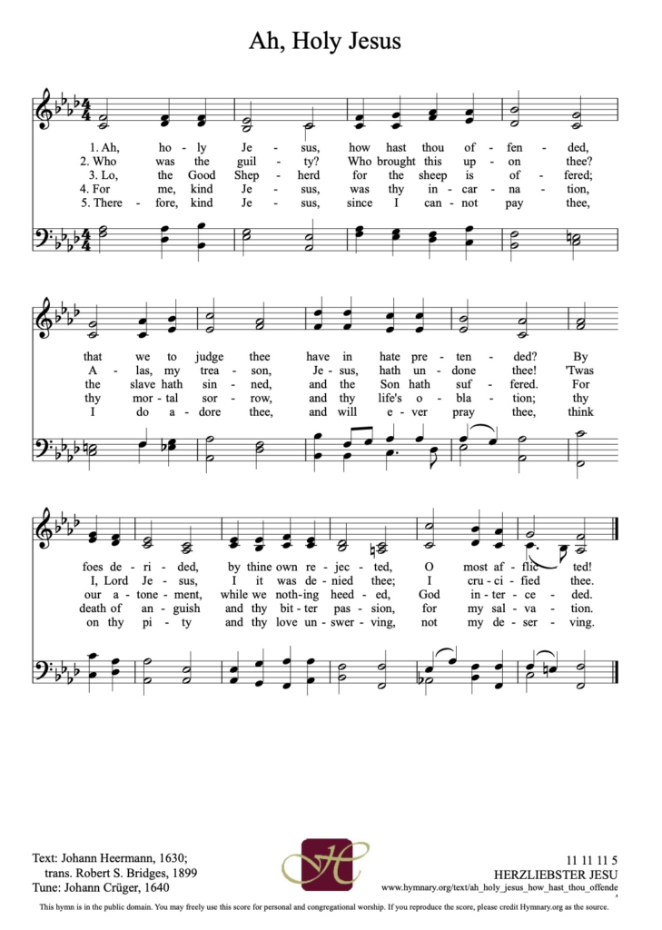 Words and sheet music for Ah, Holy Jesus