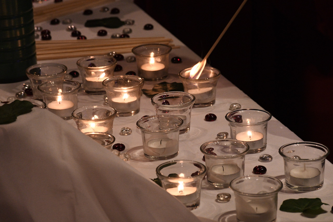 Prayer candles on a table